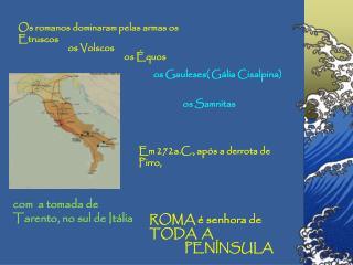 Os romanos dominaram pelas armas os Etruscos