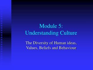 Module 5: Understanding Culture