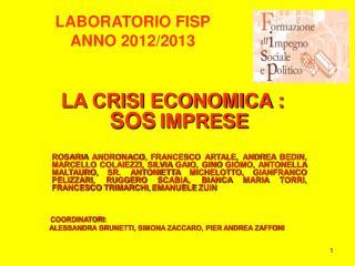 LABORATORIO FISP  ANNO 2012/2013