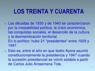 LOS TREINTA Y CUARENTA