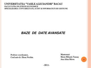 """UNIVERSITATEA """"VASILE ALECSANDRI"""" BACAU FACULTATEA DE ŞTIINŢE ECONOMICE"""