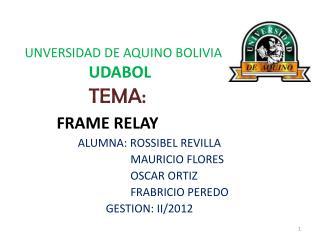 UNVERSIDAD DE AQUINO BOLIVIA UDABOL TEMA:  FRAME RELAY