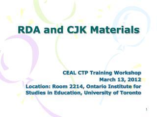 RDA and CJK Materials