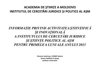 Studiu  privind situația politico-juridică din Republica Moldova în urma demisionării Guvernului