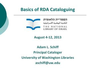 Basics of RDA Cataloguing