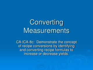 Converting Measurements