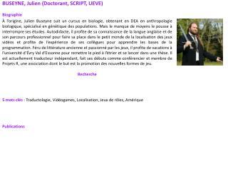 BUSEYNE, Julien (Doctorant, SCRIPT, UEVE) Biographie