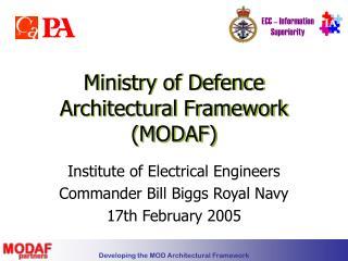 Ministry of Defence Architectural Framework MODAF