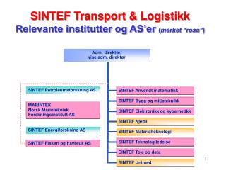 "SINTEF Transport & Logistikk Relevante institutter og AS'er  ( merket ""rosa"" )"