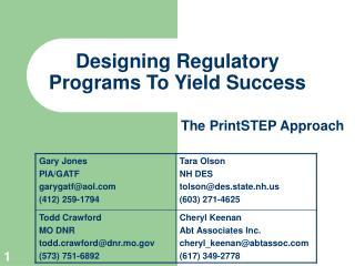 Designing Regulatory Programs To Yield Success