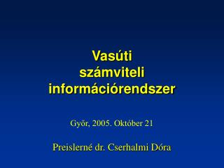 Vasúti  számviteli  információrendszer
