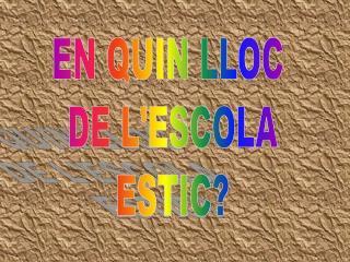 EN QUIN LLOC  DE L'ESCOLA ESTIC?