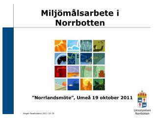 Miljömålsarbete i Norrbotten