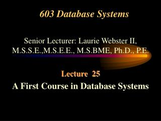 603 Database Systems