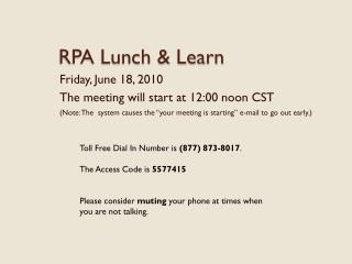 RPA Lunch  Learn