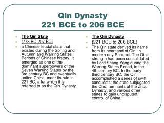 Qin Dynasty 221 BCE to 206 BCE