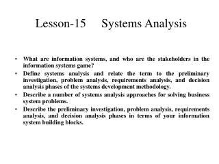 Lesson-15     Systems Analysis