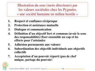 Respect et confiance réciproque Protection et assistance mutuelle Dialogue et communication