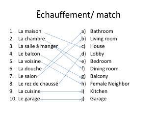 Ēchauffement/ match