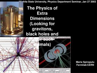 Wichita State University, Physics Department Seminar, Jan 27 2003