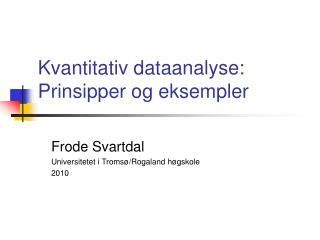 Kvantitativ dataanalyse: Prinsipper og eksempler