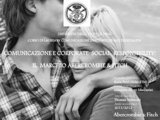 UNIVERSITA' DEGLI STUDI  DI  PAVIA CORSO  DI  LAUREA IN COMUNICAZIONE INNOVAZIONE MULTIMEDIALITA'
