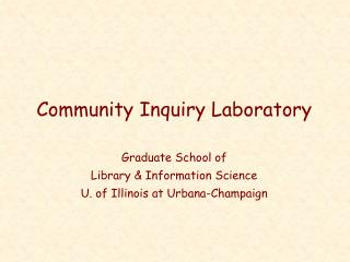 Community Inquiry Laboratory
