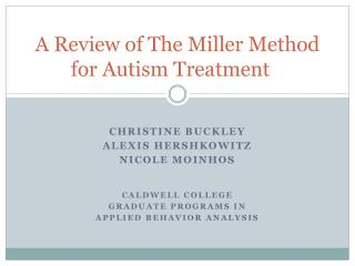 A Review of The Miller Method for Autism Treatment