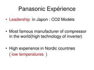 Panasonic Expérience