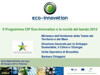 Il Programma CIP Eco-Innovation e le novità del bando 2013