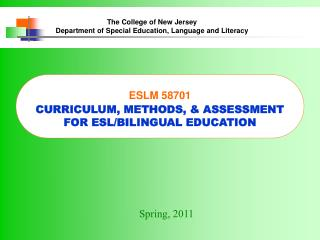 The College of New Jersey Department of Special Education, Language and Literacy