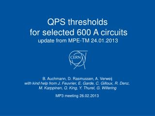 QPS thresholds  for selected 600 A circuits update from MPE-TM 24.01.2013