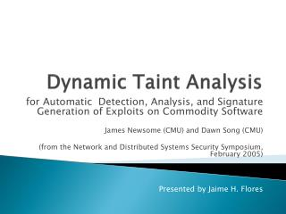 Dynamic Taint Analysis
