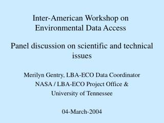 Inter-American Workshop on  Environmental Data Access