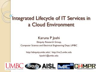 Integrated Lifecycle of IT Services in a Cloud Environment