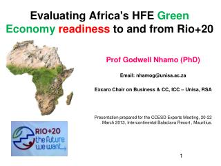 Evaluating Africa's HFE  Green Economy readiness  to and from Rio+20