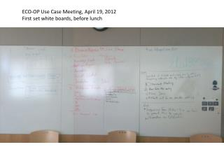 ECO-OP Use Case Meeting, April 19, 2012 First set white boards, before lunch