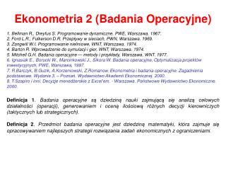 Ekonometria 2 (Badania Operacyjne)
