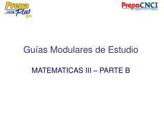 Guías Modulares de Estudio MATEMATICAS III – PARTE B