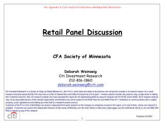 Deborah Weinswig Citi Investment Research 212-816-1860 deborah.weinswig@citi