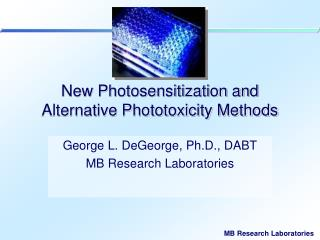 New Photosensitization and Alternative Phototoxicity Methods