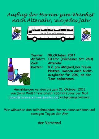 Ausflug der Herren zum Weinfest                   nach Altenahr, wie jedes Jahr
