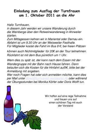 Einladung zum Ausflug der Turnfrauen  am 1. Oktober 2011 an die Ahr