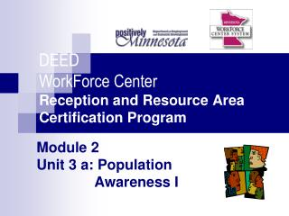 Module 2 Unit 3 a: Population  Awareness I