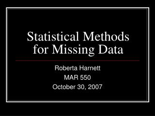 Statistical Methods for Missing Data