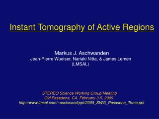 Instant Tomography of Active Regions