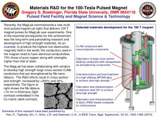 Selected materials development for the 100 T magnet: Cu-Nb conductors with