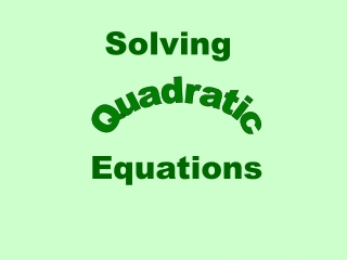 Consider the quadratic equation  x2  1  0.    Solving for x , gives x2     1