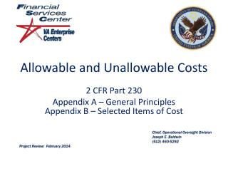 Allowable and Unallowable Costs