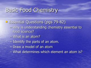 Basic Food Chemistry